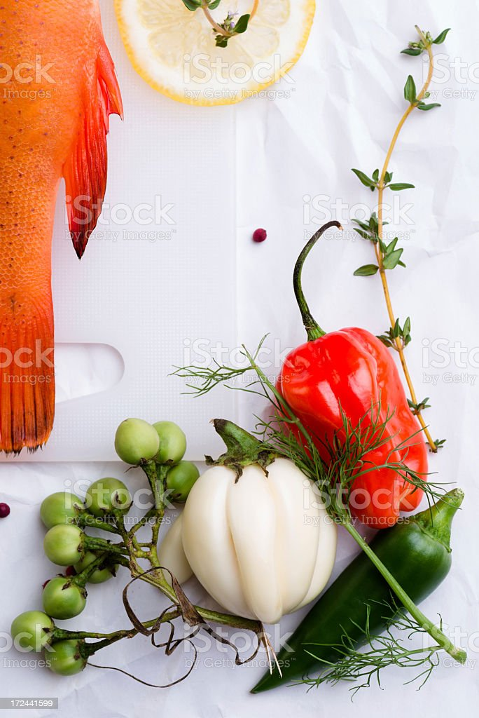 vegetables and fish royalty-free stock photo