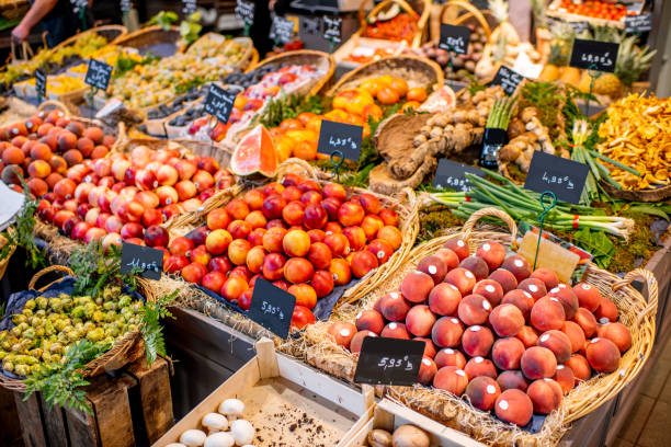 Gemüse und Kalorienniveau am Marktplatz – Foto
