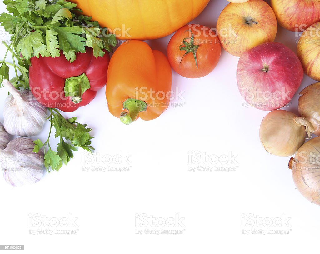 Vegetables and fruits at the top of a white background royalty-free stock photo