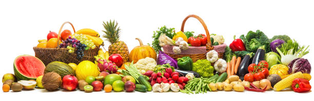 Vegetables and fruits background stock photo