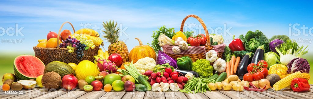 Vegetables And Fruits Background Stock Photo - Download ...