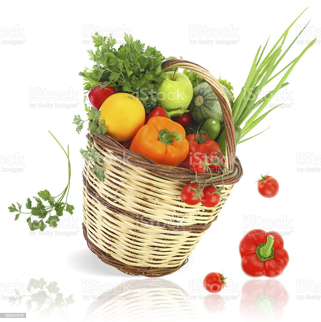 Vegetables and fruits in the basket royalty-free stock photo