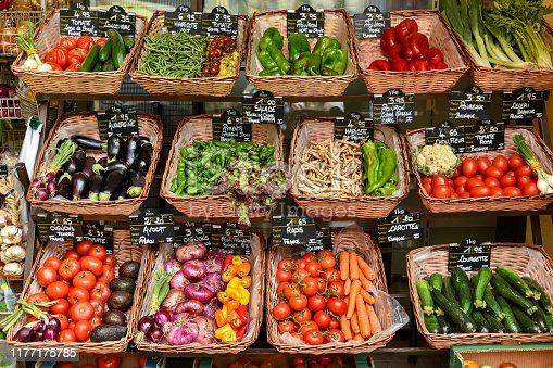 Vegetables and fruits in wicker baskets at a greengrocery, in Collioure (France).