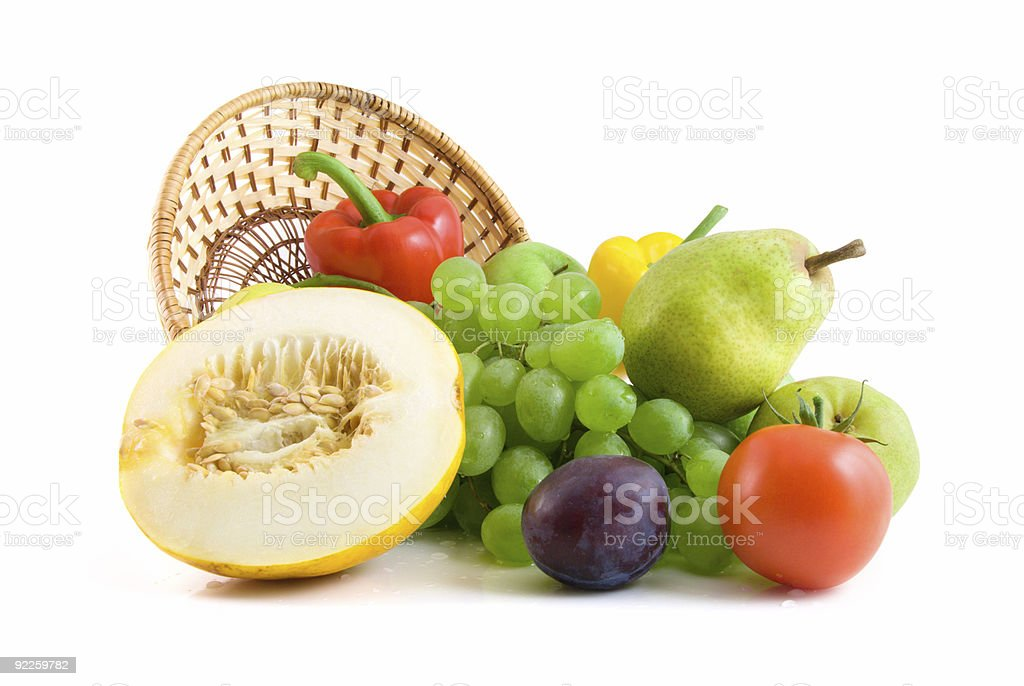 vegetables and fruits isolated on the white royalty-free stock photo