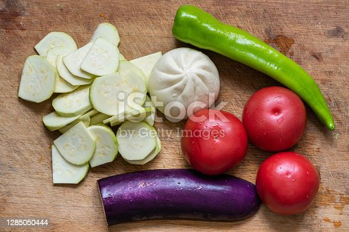 Vegetables and fruits on cutting board