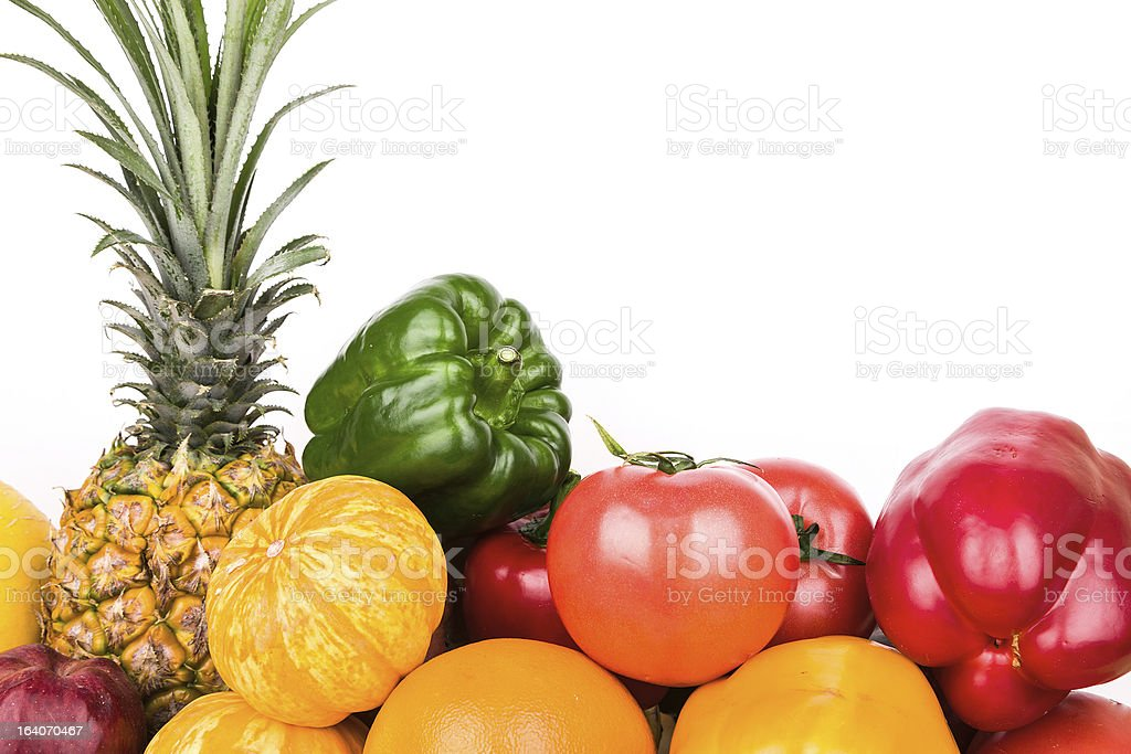 Vegetables and fruits variety isolated on white background royalty-free stock photo