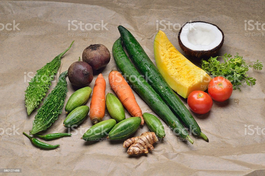 Vegetables and Fruits with Spices on White Background stock photo