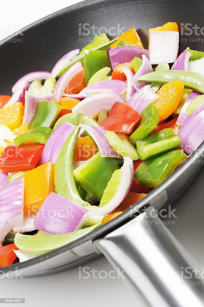 Vegetables and frying pan royalty-free stock photo
