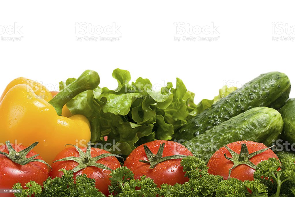 Vegetables and green verdure isolated on white royalty-free stock photo