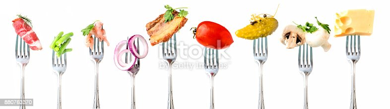 Vegetables and meat and seafood on white background.