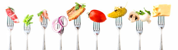 Vegetables and meat and seafood on white background. - foto stock