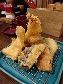 Vegetables and shrimp tempura
