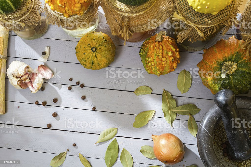 Vegetables and spices in the autumn basement royalty-free stock photo