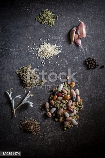 istock Vegetables and spices - knolling 820851474