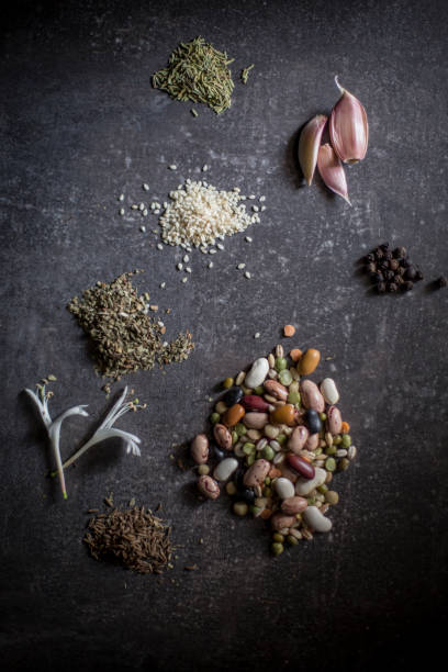 Vegetables and spices - knolling stock photo