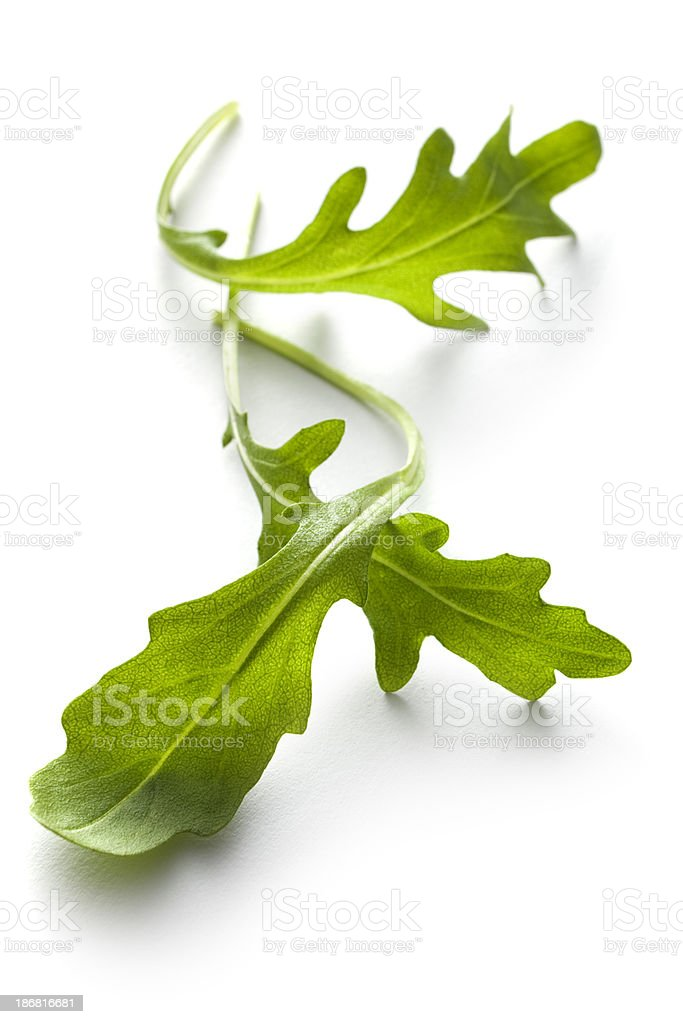 Vegetables: Arugula Lettuce Isolated on White Background stock photo
