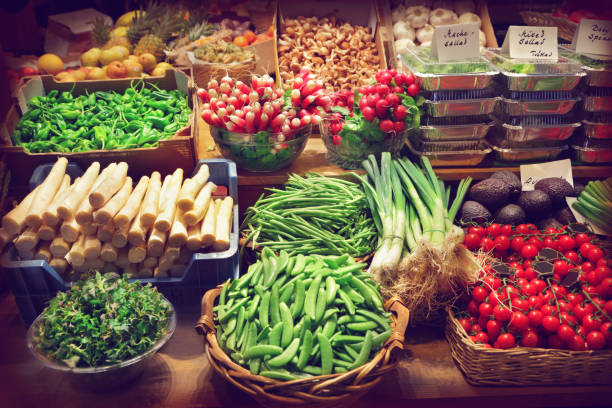 Vegetables at a market stall stock photo