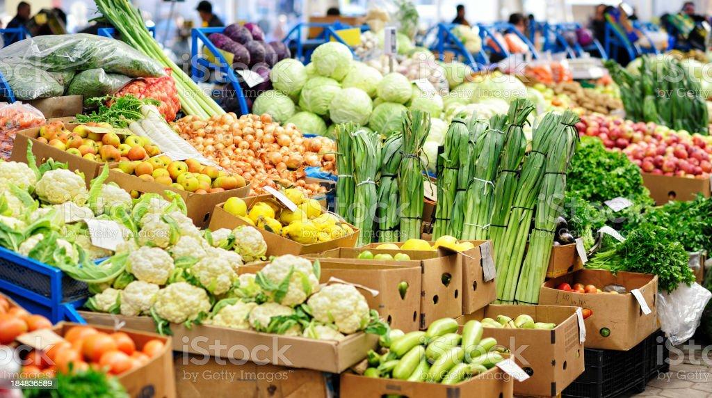 Vegetables at farmer's market stock photo