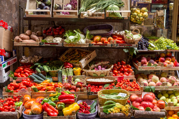 Vegetables at Mercato Centrale market in Florence FLORENCE, ITALY - AUGUST 21, 2014: Vegetables at Mercato Centrale market in Florence, Italy. mercato stock pictures, royalty-free photos & images
