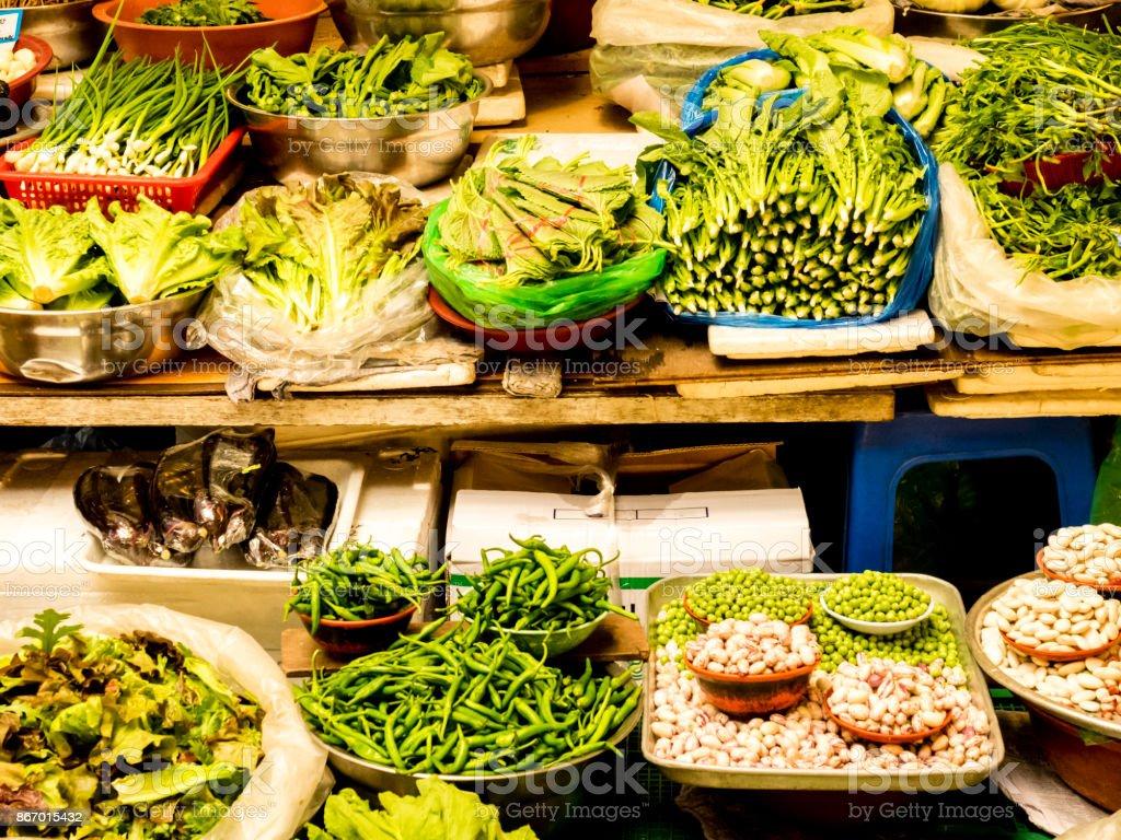 Vegetables at the Gwangjang Market. Seoul, South Korea. stock photo