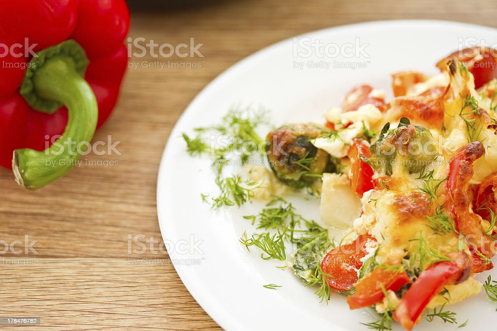 vegetables baked with cheese royalty-free stock photo