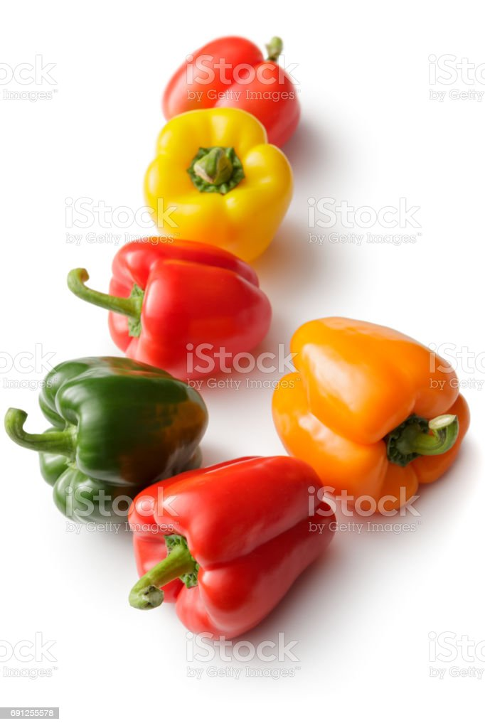 Vegetables: Bell Pepper Collection Isolated on White Background stock photo