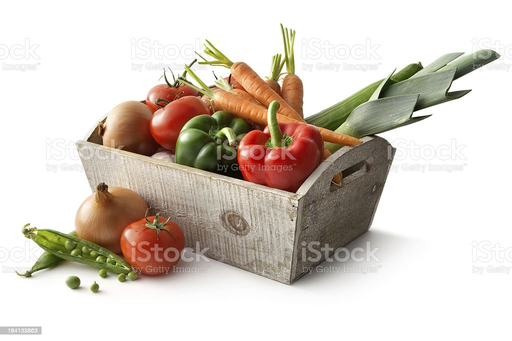 Vegetables: Bell Pepper, Leek, Carrot, Tomato, Onion and Peas stock photo