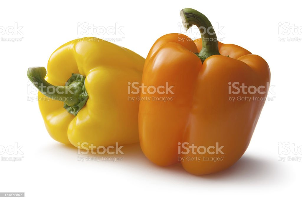 Vegetables: Bell Pepper Yellow and Orange royalty-free stock photo