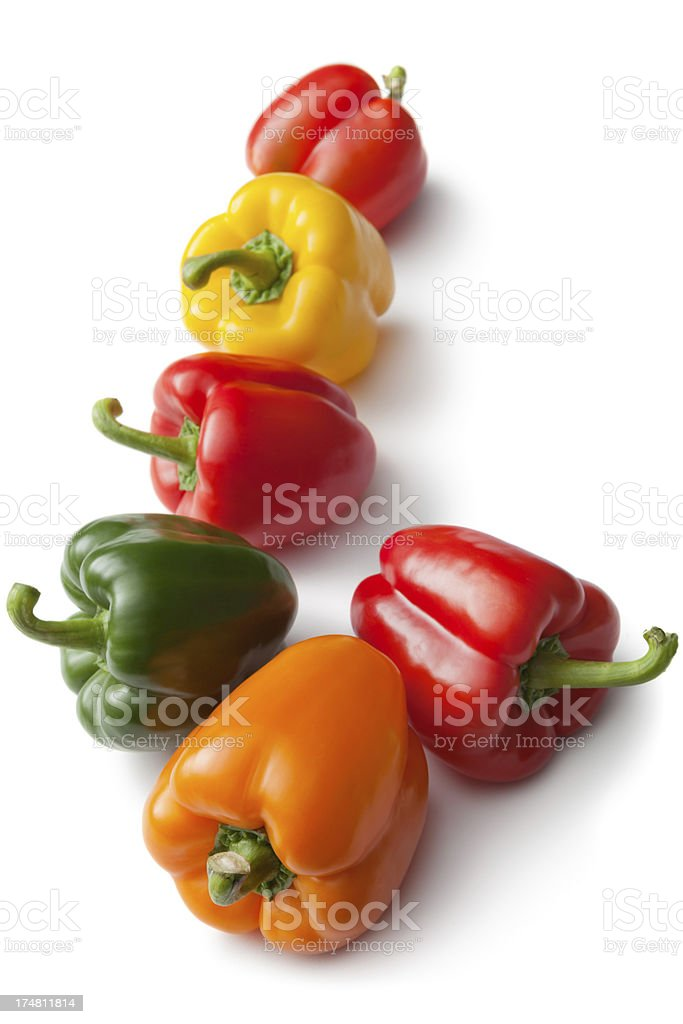 Vegetables: Bell Pepper Yellow, Orange, Red and Green royalty-free stock photo