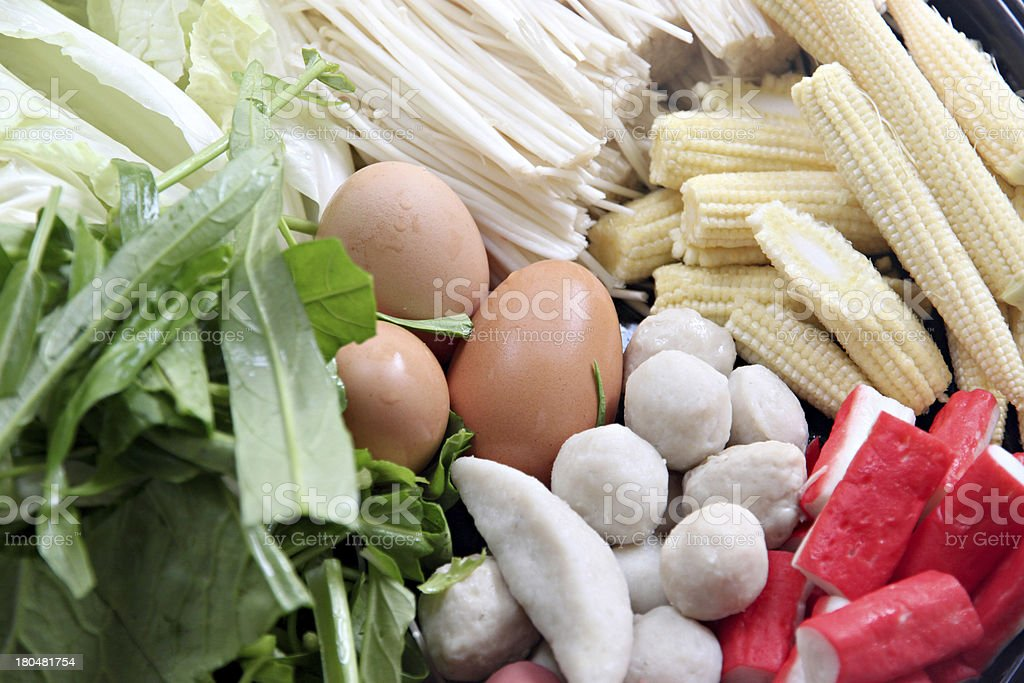 Vegetables boiled eggs, meatballs can be Sukiyaki. royalty-free stock photo