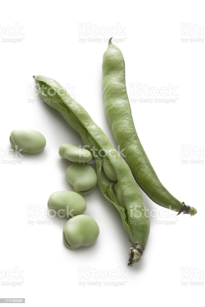 Vegetables: Broad Beans Isolated on White Background stock photo