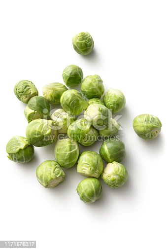 Vegetables: Brussels Sprouts Isolated on White Background