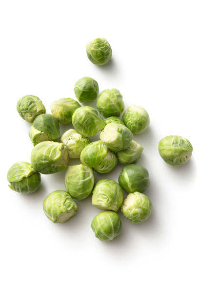 Vegetables: Brussels Sprouts Isolated on White Background stock photo