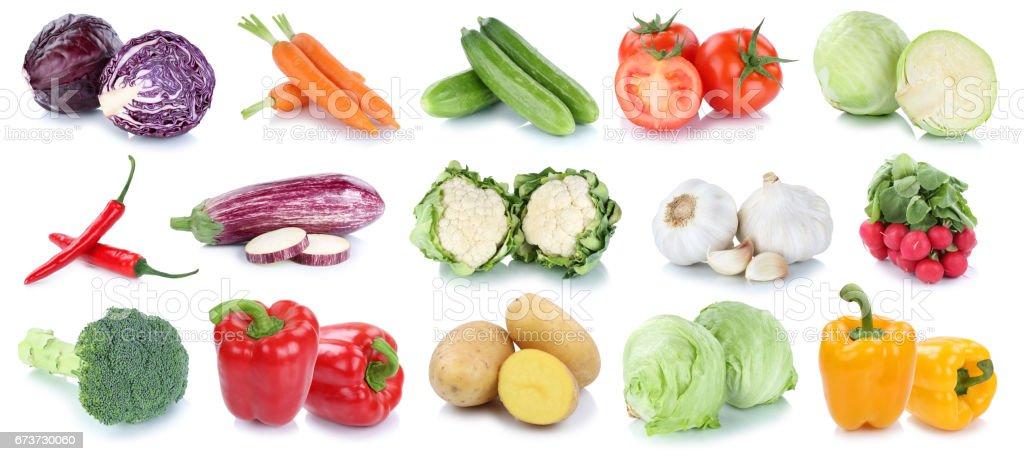 Légumes carottes pommes de terre fraîches laitue tomates chou collection isolée photo libre de droits