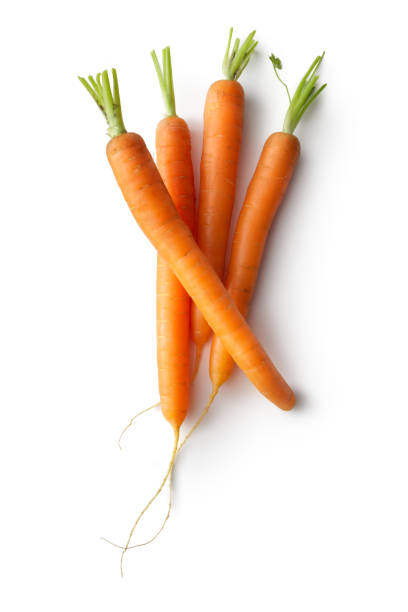 vegetables: carrots isolated on white background - cenoura imagens e fotografias de stock