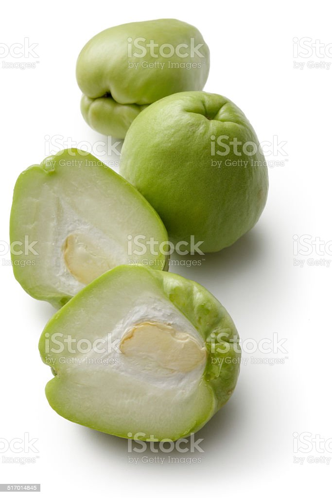 Vegetables: Chayote Isolated on White Background stock photo