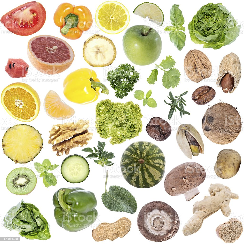 Vegetables Collage (icon size) isolated on white stock photo