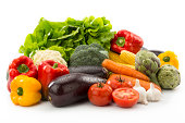 Fresh vegetables isolated on white background.Clipping Path included