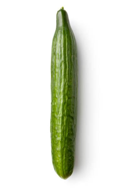 vegetables: cucumber isolated on white background - komkommer stockfoto's en -beelden