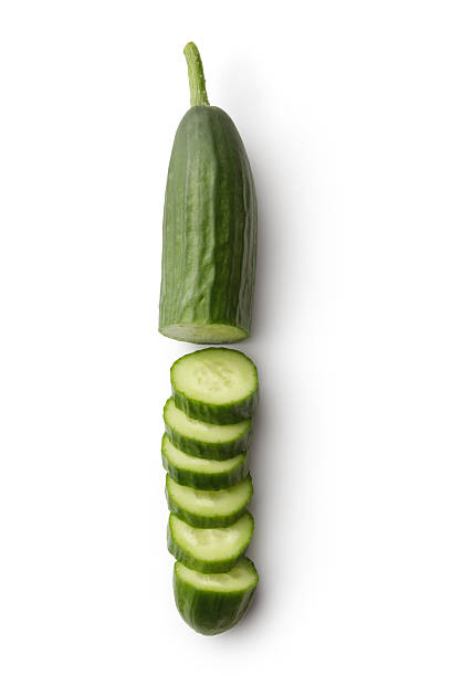 vegetables: cucumber isolated on white background - cucumber stock photos and pictures