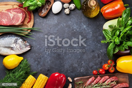 istock Vegetables, fish and meat cooking 622003768