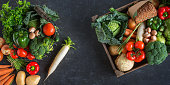 Colorful selection of vegetables on a slate plate for a healthy lifestyle