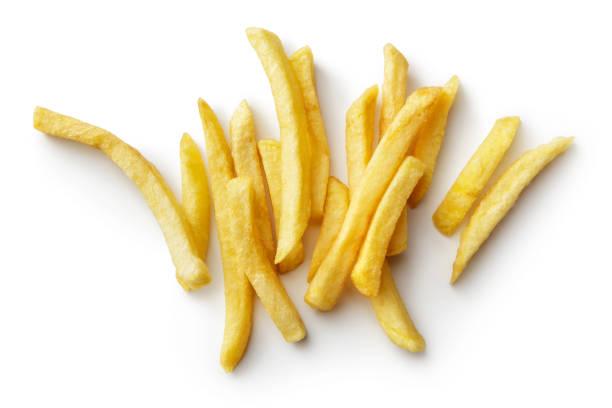 groenten: franse frietjes geïsoleerd op witte achtergrond - patat stockfoto's en -beelden