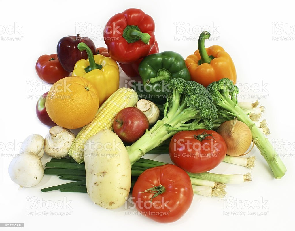 Vegetables from the market against white background stock photo