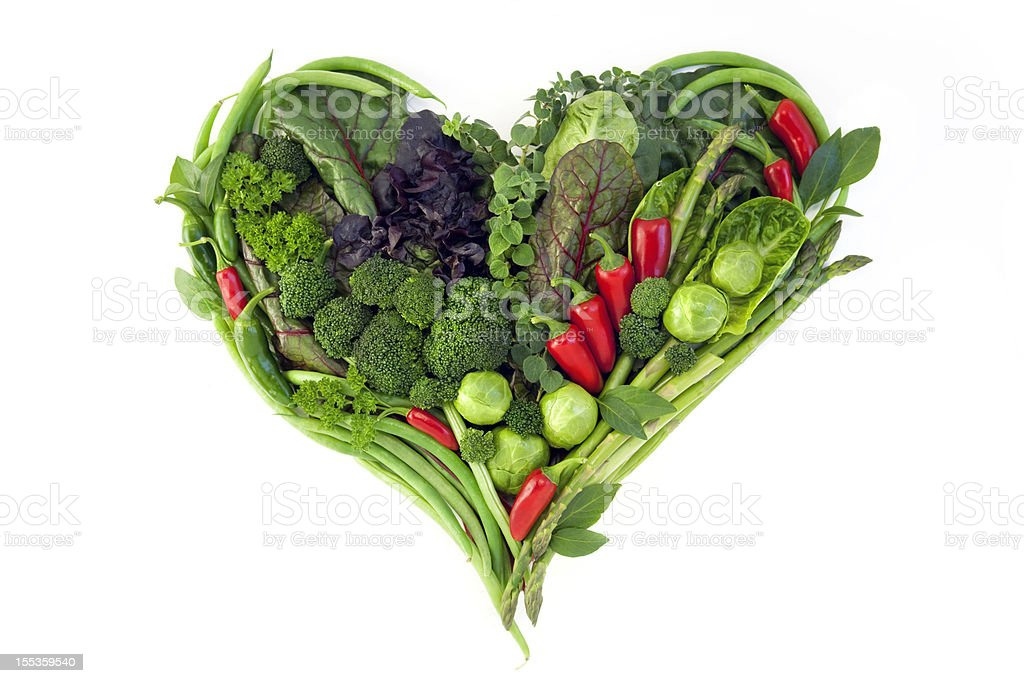 Vegetables - Healthy Heart Isolated on White royalty-free stock photo