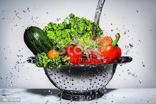 istock vegetables in a colander under running water 482202428