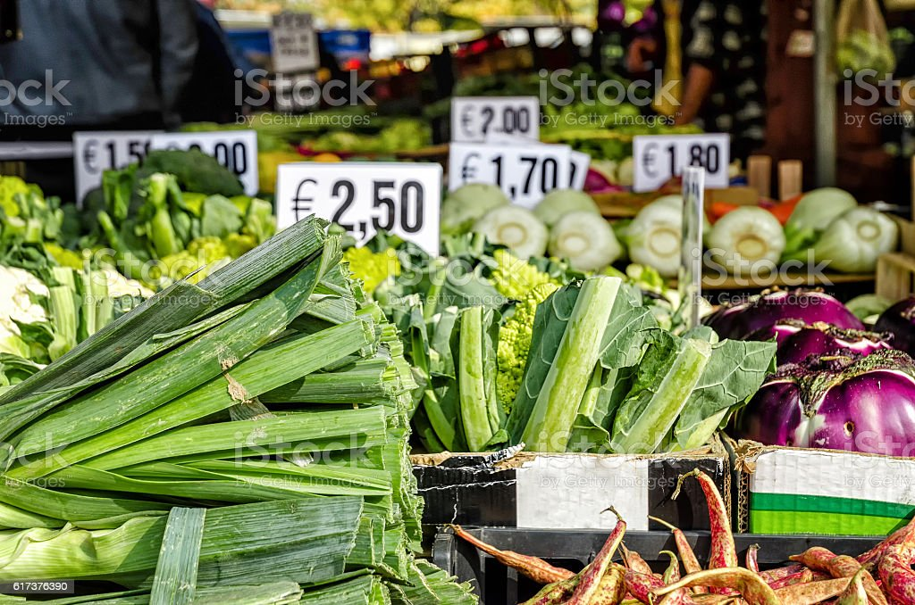 vegetables in a street market stock photo