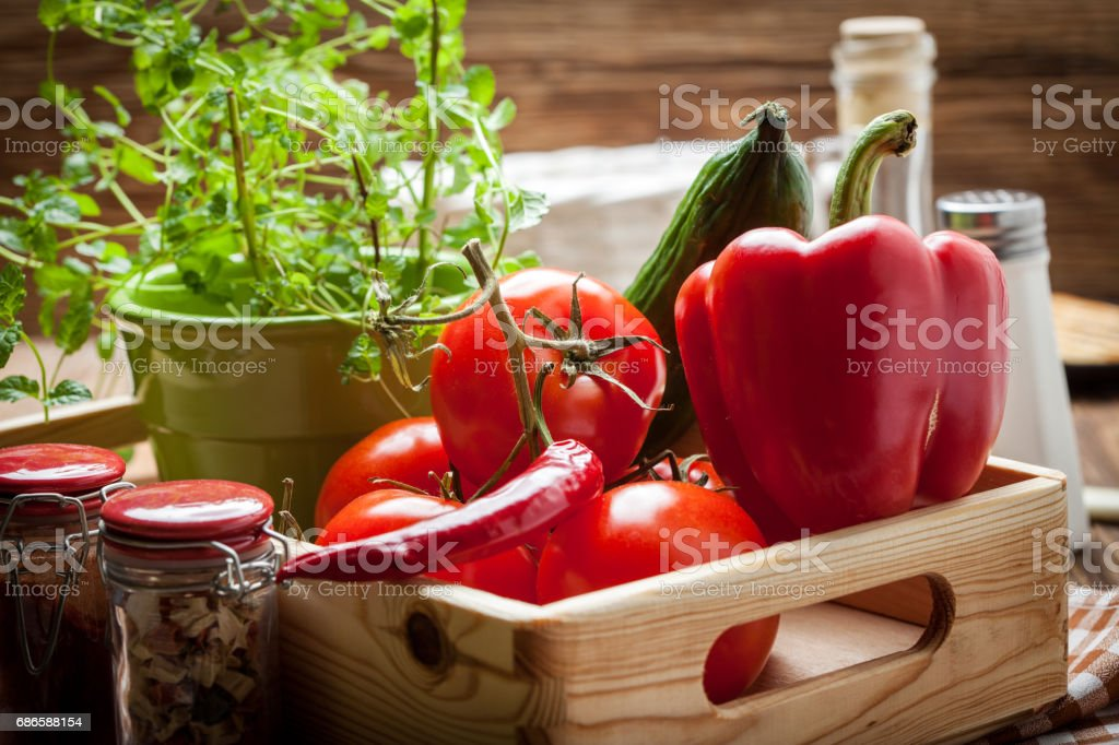 Vegetables in a wooden box. royalty-free stock photo