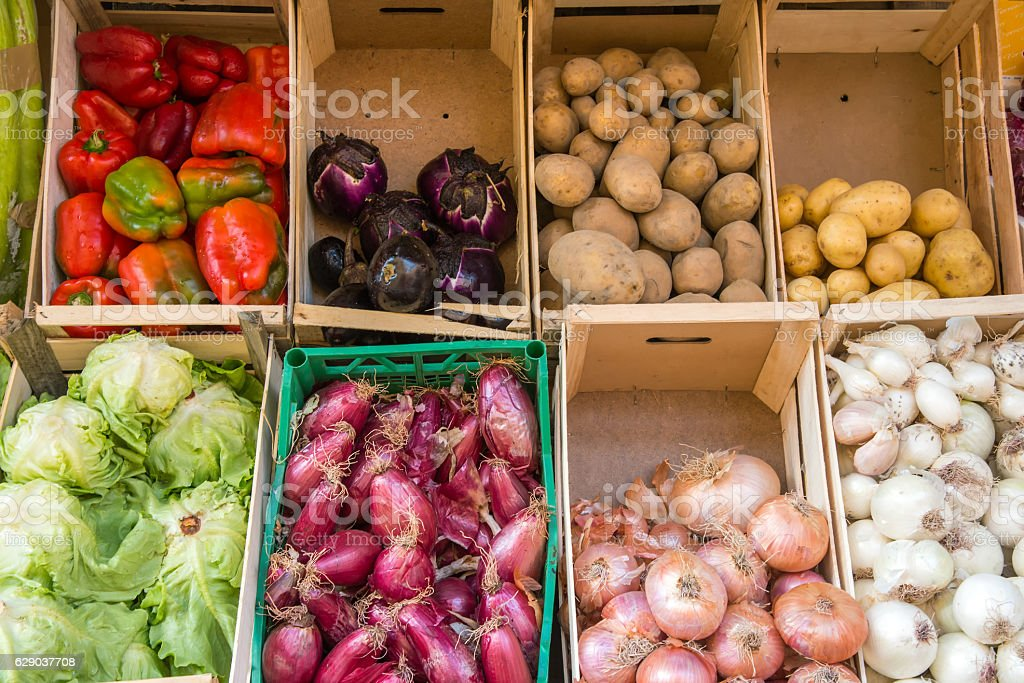 Vegetables in boxes for sale stock photo