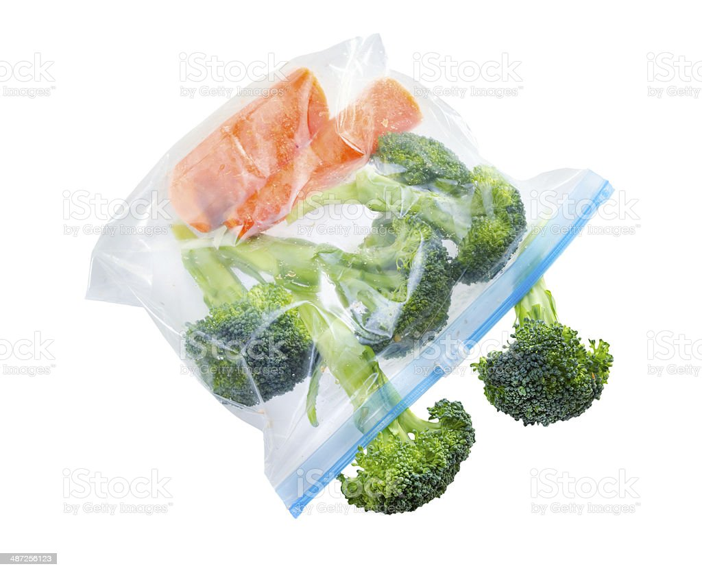 Vegetables in clear plastic bag stock photo